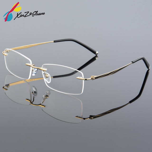 fa45a54665 2017 XINZE Super Light Titanium Alloy Prescription Glasses Frame ...