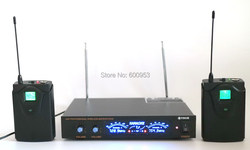 UHF 2 Channel Wireless Headset Microphone System 2 Bodypack with Head Mic