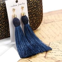 hot deal buy bohemian long tassel earrings blue white women fashion jewelry geometric winding dangle drop party trendy earrings for gift 2018