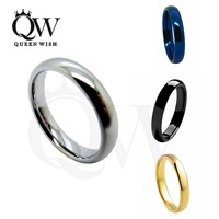 Queenwish 4mm White Black Gold Blue Tungsten Carbide Polished Classic Wedding Ring Band Jewelry Womens Rings