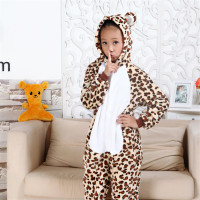 Autumn Winter Children Funny Animal Pajamas Kids Onesies Keep Warm Sleepwear Party Show Stitch Leopard Flannel