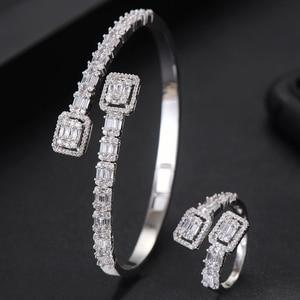 Image 3 - GODKI Luxury Trendy Saudi Arabia Bangle Ring Set Jewelry Sets For Women Wedding Engagement brincos para as mulheres 2019