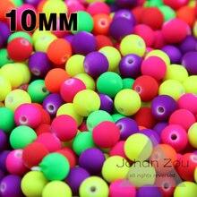 JHNBY – perles en caoutchouc acrylique 10mm, 100 pièces, couleur bonbon mixte, néon mat, entretoise ronde, en vrac, bijoux faits à la main, bricolage