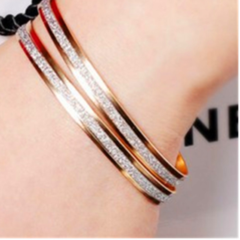 New Fashion Double Frosted Rose Gold Bangle Bracelet Fashion Female Bracelet Bracelet 1 price