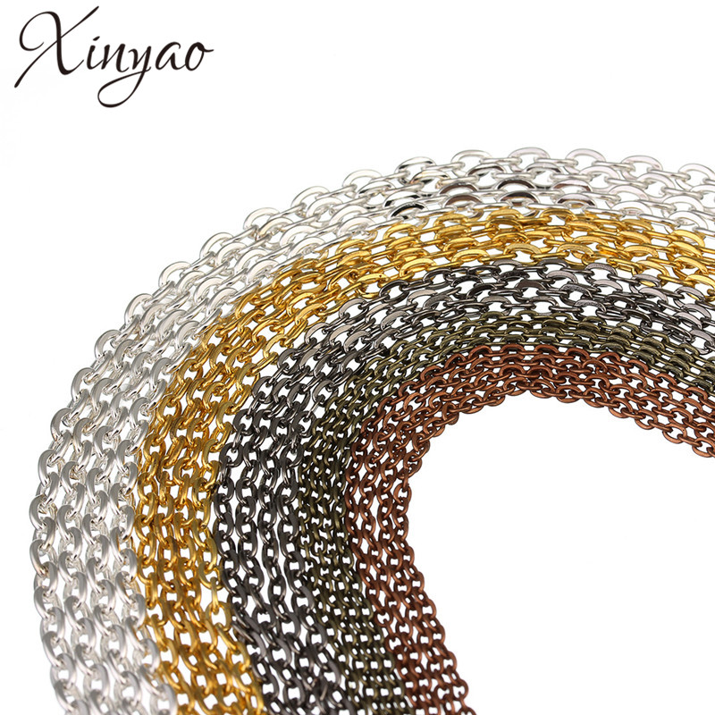 купить 10m/lot 2*3/3*4/3.5*4.5mm Metal Necklace Chains Bulk Fit Bracelets Findings Gold/Silver Color Link Chain For Jewelry Making по цене 98.6 рублей