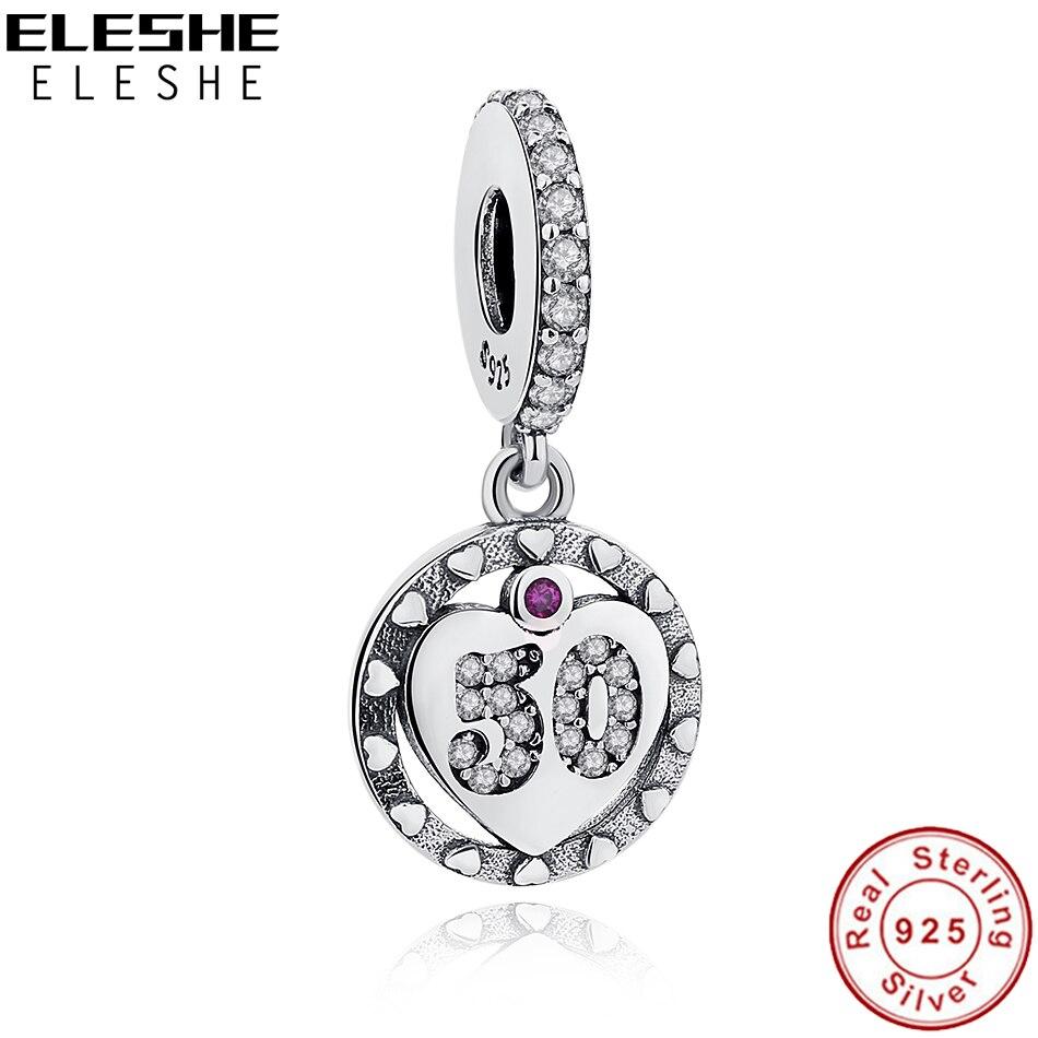Números Do Alfabeto ELES mesmos 50 Anos De Amor Pingente Charme Fit Pandora bracelet 925 Sterling Silver coração De Cristal BEADS Diy jóias