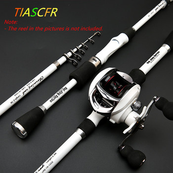 TIASCFR Carbon Fiber Telescopic Fishing Rod 1.8M 2.1M 2.4M Portable Spinning Fishing Rod Pole Travel Sea Boat Rock Casting Rod
