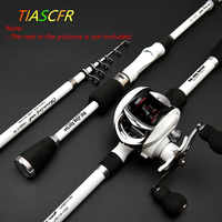 TIASCFR Carbon Fiber Telescopic Fishing Rod 1.8M 2.1M 2.4M Portable Spinning Fishing Rod Pole Travel Sea Boat Rock Casting Rod