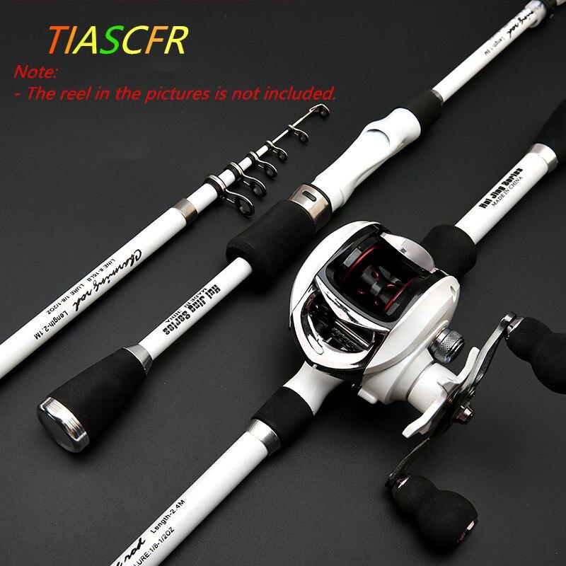 TIASCFR canne à pêche télescopique en Fiber de carbone 1.8M 2.1M 2.4M canne à pêche rotative Portable pôle voyage bateau de mer tige de coulée de roche