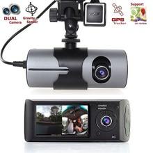 цена на 2.7 Dual Lens Camera Car DVR R300 with GPS 2 CMOS 3D G-Sensor LCD X3000 Dash Cam Video Camcorder Cycle Recording Digital Zoom
