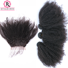 Mongolian Afro Kinky Curly Hair Weave 3 Human Hair Bundles With Silk Base Closure 4 Pcs/Lot Remy Rosa Queen Hair Products