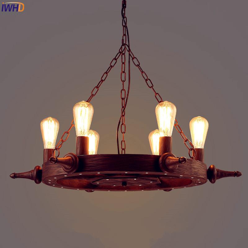 IWHD American Iron Loft Industrial Pendant Lighting Fixtures Rudder LED Edison Hanging Light Retro Vintage Lamp Luminaire american retro pendant lights luminaire lamp iron industrial vintage led pendant lighting fixtures bar loft restaurant e27 black