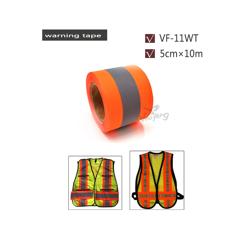 50mm X 10m Fluorescent Orange& Fluorescent yellow Warning Tape for Safety Clothes