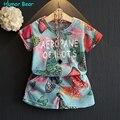Humor bear meninas do bebê roupa dos miúdos definir moda arco conjunto de roupas meninas miúdos dos desenhos animados roupa do bebê set