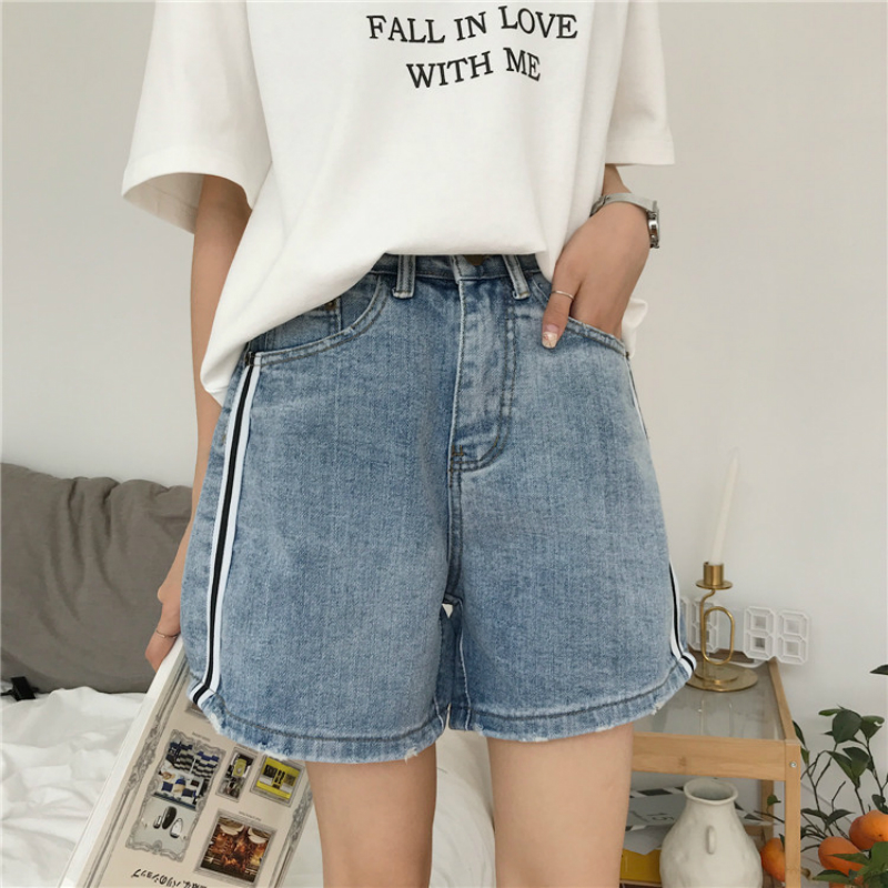 56135cd8fe64 KYMAKUTU Casual Women s High Waist Denim Shorts Slim Straight Hot Short  Pants Feminino All Match Jeans Bule S L 2018 Summer-in Shorts from Women s  Clothing ...