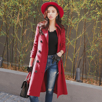 Dabuwawa New Autumn claret spiffy Long woman Trench with Double Breasted Button Sash Coat D17CTC005