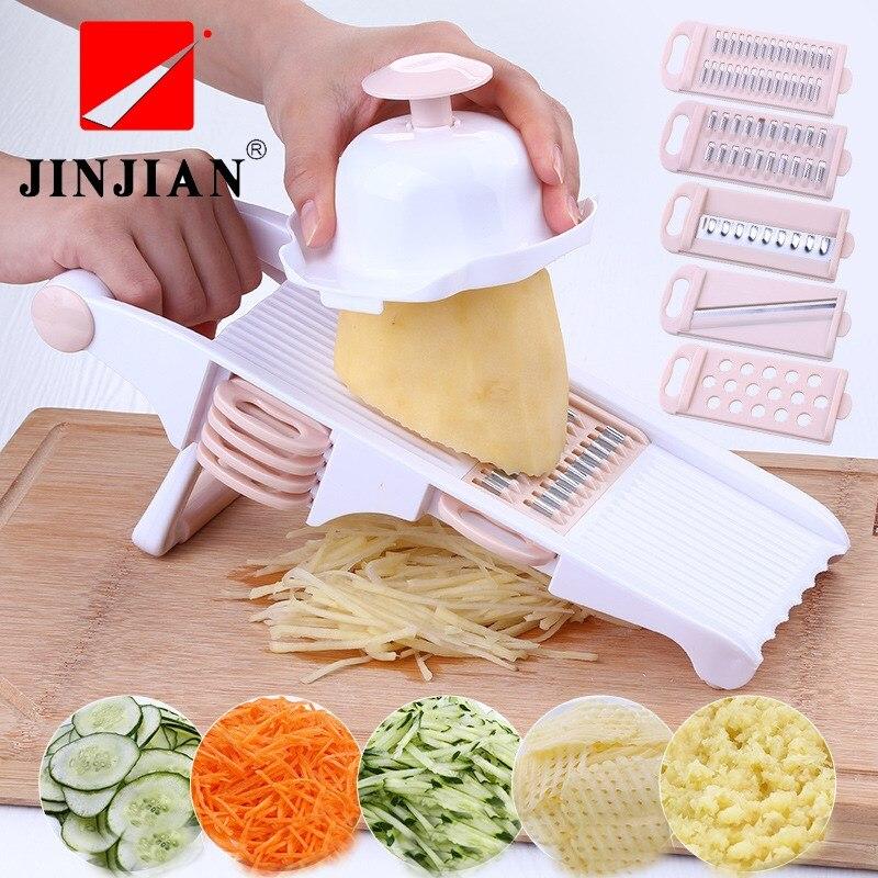 3ce109278 JINJIAN verduras cortador mandolina rallador pelador V con 5 lámina  rallador de zanahoria cebolla vegetales Slicer accesorios de cocina