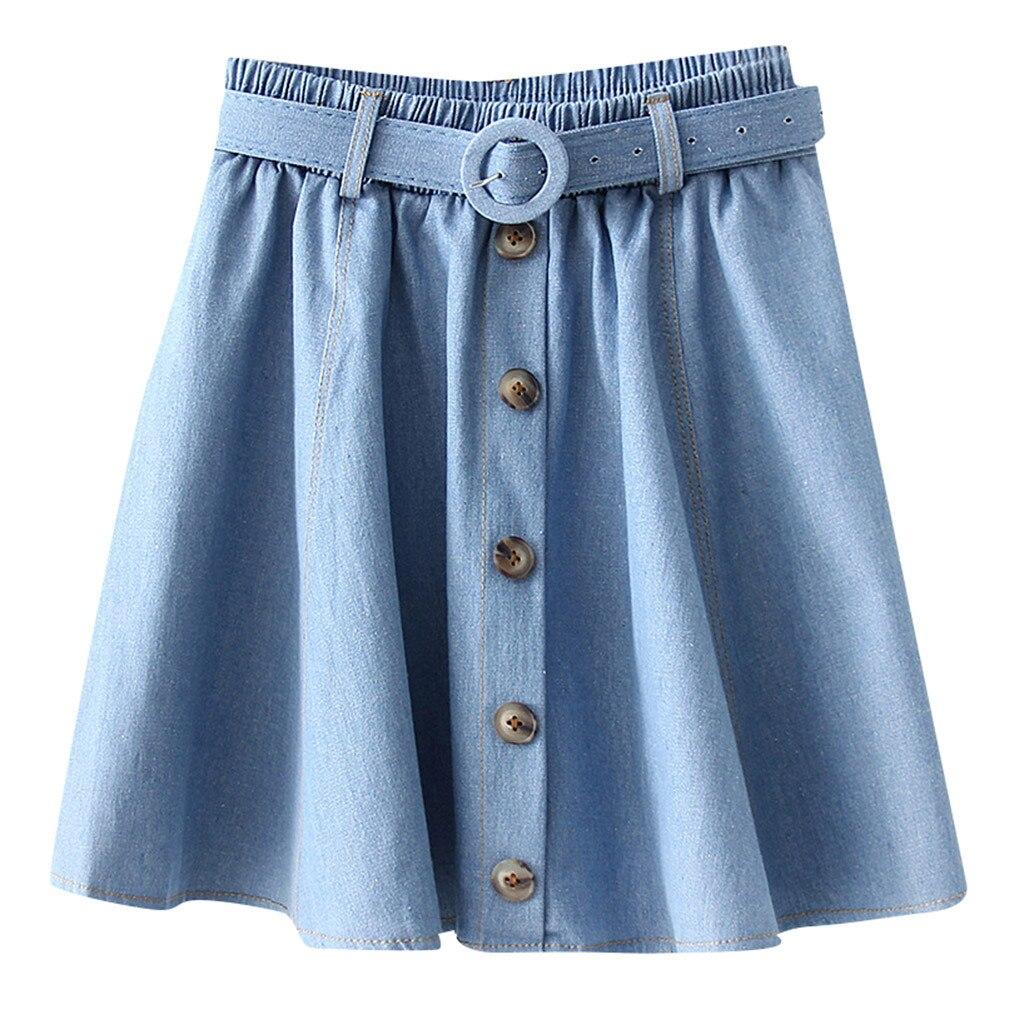 SAGACE fashion Cotton skirt Womens Summer Casualb beach Denim Vintage Comfortable saia High Waist Bandage  Ladies Mini Skirt 401