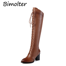 Bimolter Genuine Leather Knee High Riding Boots Women Lace Up Side Zipper Winter Warm Sqaure Heel Black LAEB041