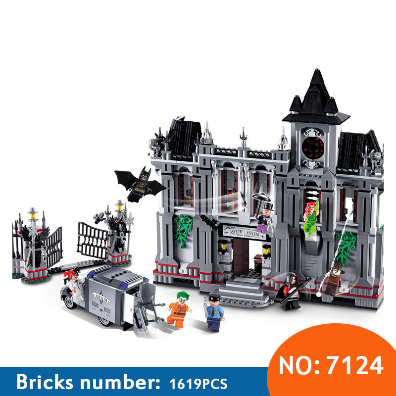 7124 1619 pcs Comics Super Heroes series the Batman Arkham Asylum Breakout Brick model building blocks compatible 10937 aliens the original comics series nightmare asylum and earth war