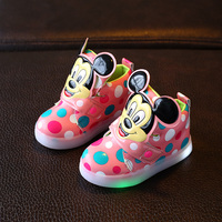 New 2017 Hot Sales Cool LED Lighted Baby Sneakers High Quality Cartoon Funny Design Baby Shoes