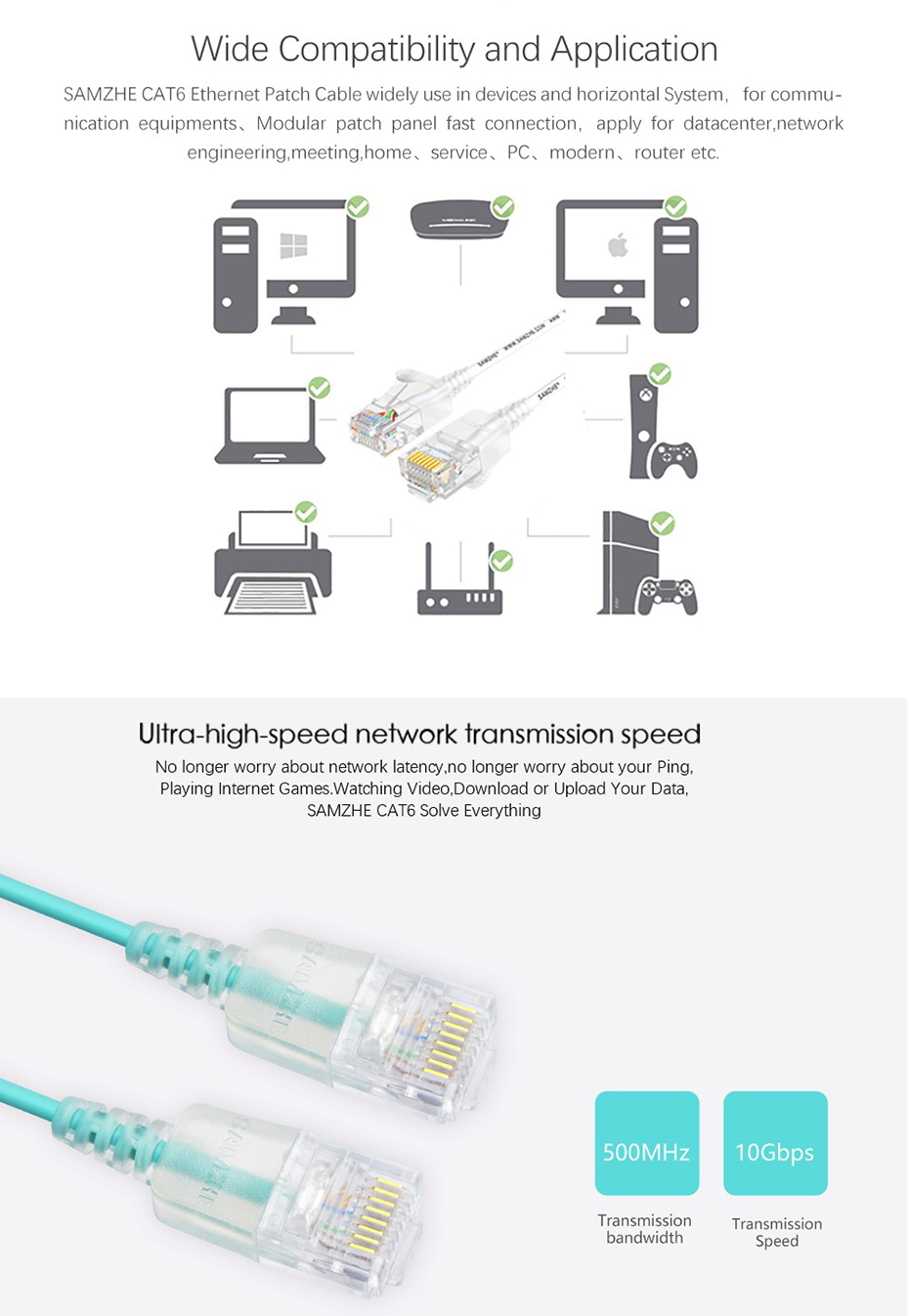 samzhe cat6 ethernet cable 500mhz 1000mbps ultrafine rj45 network rh aliexpress com