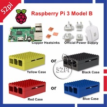 2016 Latest Raspberry Pi 3 Model B with Official Power Supply 5.1V 2.5A ABS Enclosure Case Cover & Copper Heatsinks