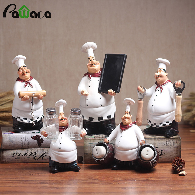 Coffee:  European Retro Chef Model Ornaments Resin Crafts Mini Chef Figurines White Top Hat Cook Home Kitchen Restaurant Bar Coffee Decor - Martin's & Co
