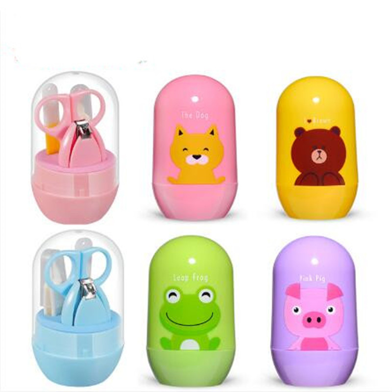 4PCS Baby Healthcare Kits Baby Infant Care Nail Sets Tweezers Nail Clippers Scissors With Cartoon Box