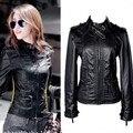 Мода Женщин Мотоцикл Кожаная Куртка Пальто Стоять воротник промывочной воды PU тонкий верхняя одежда пальто