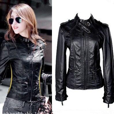 Mode Femmes Moto Veste En Cuir Manteau col montant lavage à l'eau PU mince survêtement manteaux