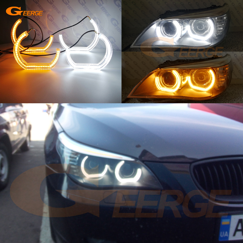 For BMW 5 SERIES E60 E61 LCI 525i 528i 530i 545i 550i M5 2007-2010 DTM M4 Style LED Angel Eye Kit Dual White Amber switchback for bmw 5 series e60 e61 lci 525i 528i 530i 545i 550i m5 2007 2010 xenon headlight dtm style ultra bright led angel eyes kit page 3