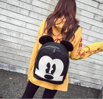 2018 Fashion mickey woman backpack pu leather black backpack mini travel backpack animal printed rucksack