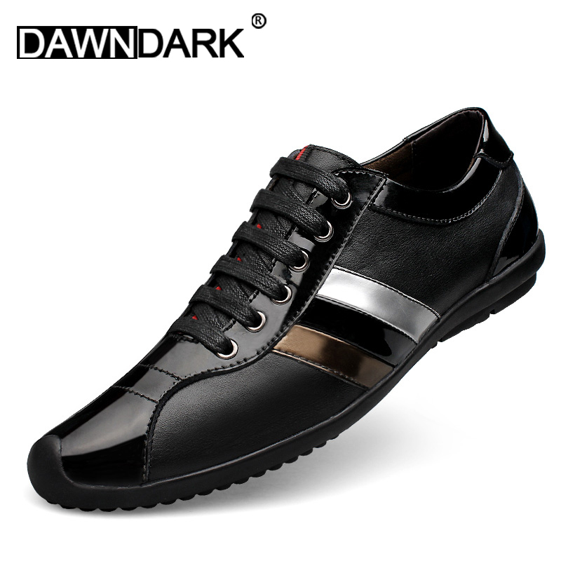 Men's Leather Casual Shoes Black Lace Up Man Fashion Luxury Flats Walking Shoes Spring Male Genuine Leather Sneakers Big Size