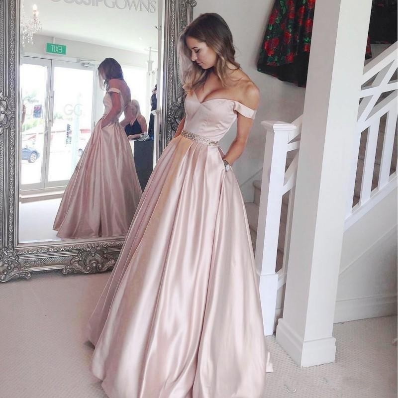 Pink   Evening     Dresses   2019 A-line Off The Shoulder Satin Beaded Formal Islamic Dubai Kaftan Saudi Arabic Long   Evening   Gown