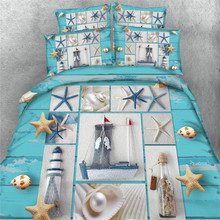 3d shell star fish sea scenery comforter bedding duvet covers sets twin full queen king cal king size polyester woven 500TC girl