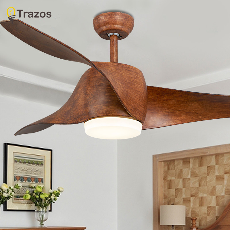 TRAZOS Brown Vintage Ceiling Fan With Lights Remote Control Ventilador De Techo 220 Volt Bedroom Ceiling Light Fan Lamp LED Bulb