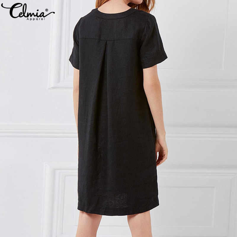 532b82ca47 ... Plus Size Women Linen Shirt Dresses 2019 Celmia Summer Mini Dress  Vintage Cotton Short Sleeve Vestido ...