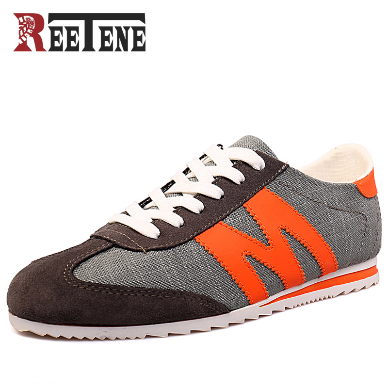 REETENE 2018 Men Casual Shoes Fashion Casual Denim Canvas Shoes Men Shoes Lace Up Flats Comfortable Sneakers Casual Men'S Shoes