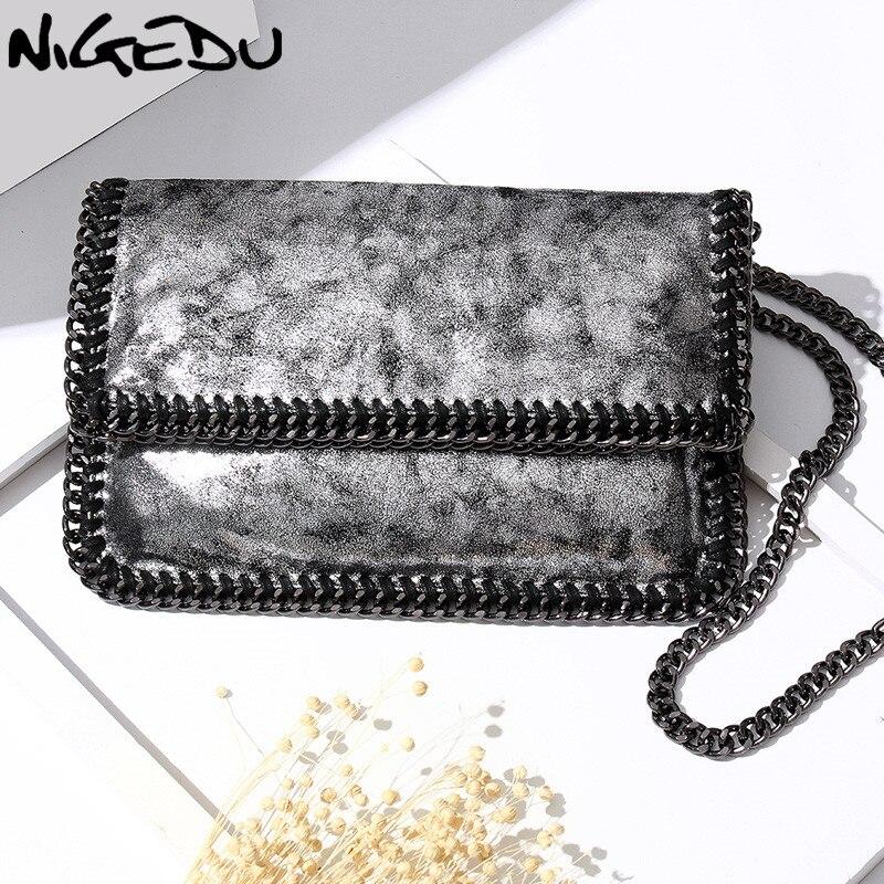 Nigedu плетение цепочки Для женщин плечо сумка через плечо раза Для женщин Клатчи роскошные сумки Для женщин сумки дизайнер сцепления кошелек