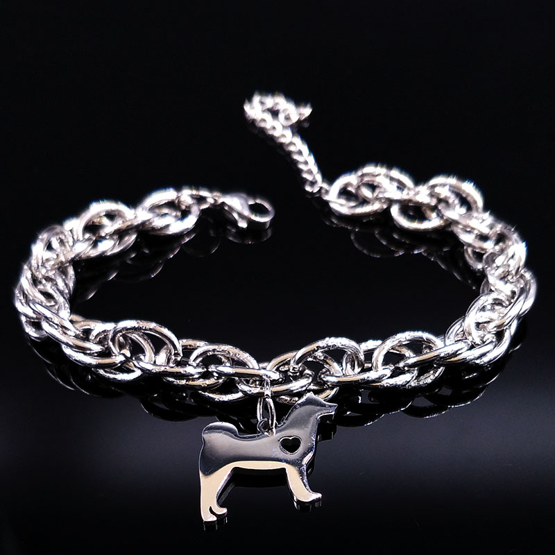 2017 Pets Dog Stainless Steel Charms Bracelet Women Silver Color Pokemon Animal Bracelets Jewelry Christmas Gift pulseras B17887