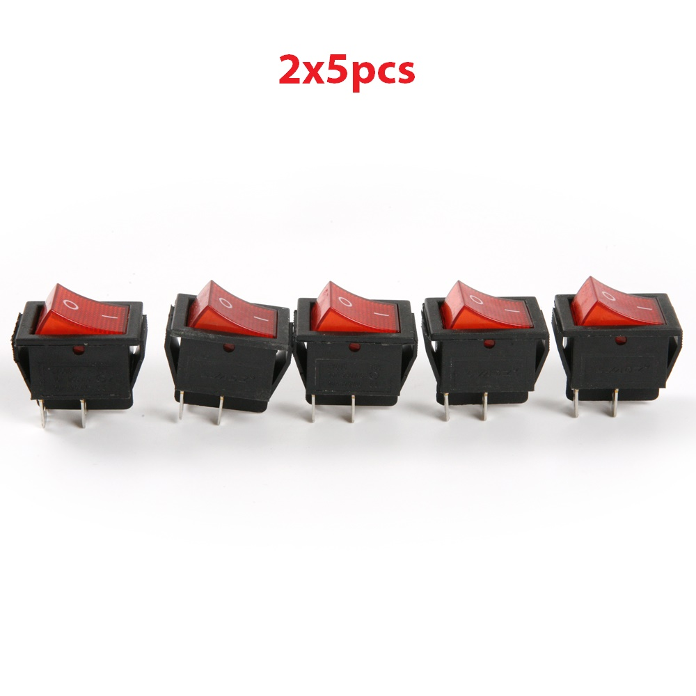 Hot High Current 10Pcs/Lot 25.5X30.8mm Red Light Illuminated 4PIN DPST ON/OFF Rocker Switch 16A 250V AC/20A 125V AC Micro Switch red green blue yellow button on on 6pin dpdt boat car rocker switch 16a 250v ac 20a 125v ac favorable