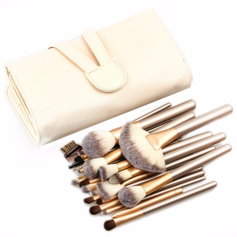 18/24pcs/set Beige Makeup Brushes Set Cosmetics Brush Eyebrow Eye Brow Powder Lip Shadows Make Up Tool Kit + Leather Case just make up сухая подводка brow powder 116 цвет 116 variant hex name 947962