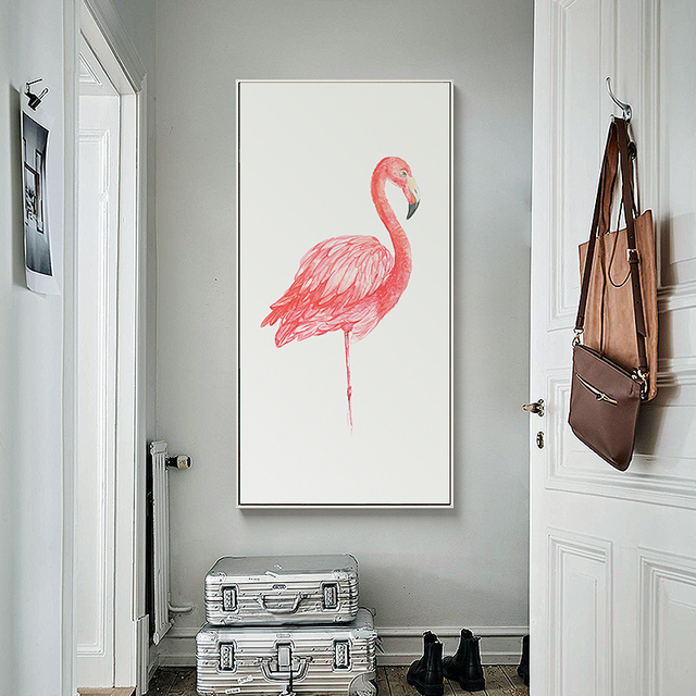 l gant po sie moderne minimaliste flamants roses toile peinture d 39 impression d 39 affiche image. Black Bedroom Furniture Sets. Home Design Ideas