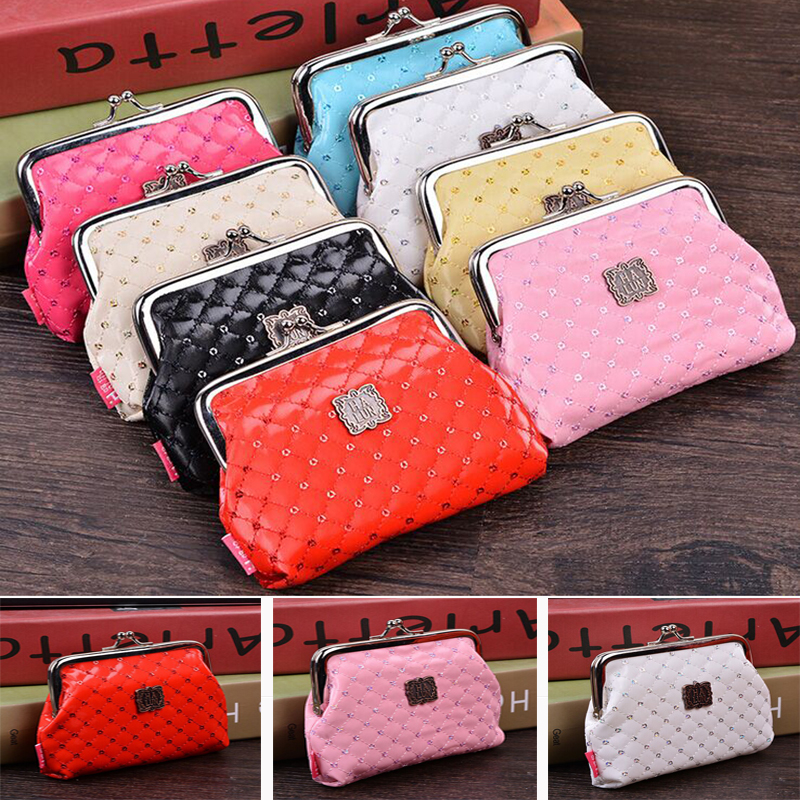 RoseDiary Women Cute plaid sequins Coin Purse PU Leather Wristlet Wallet Girls Change Pocket Pouch Hasp Bag Keys Case