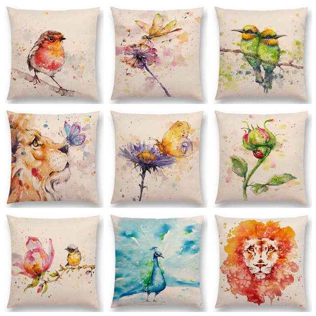 Watercolor Animals Robin Flamingos Kookaburras Lion Flower Butterfly  Ladybug Lane Bird Wren Cushion Cover Sofa Throw 2f3dcaddd64f