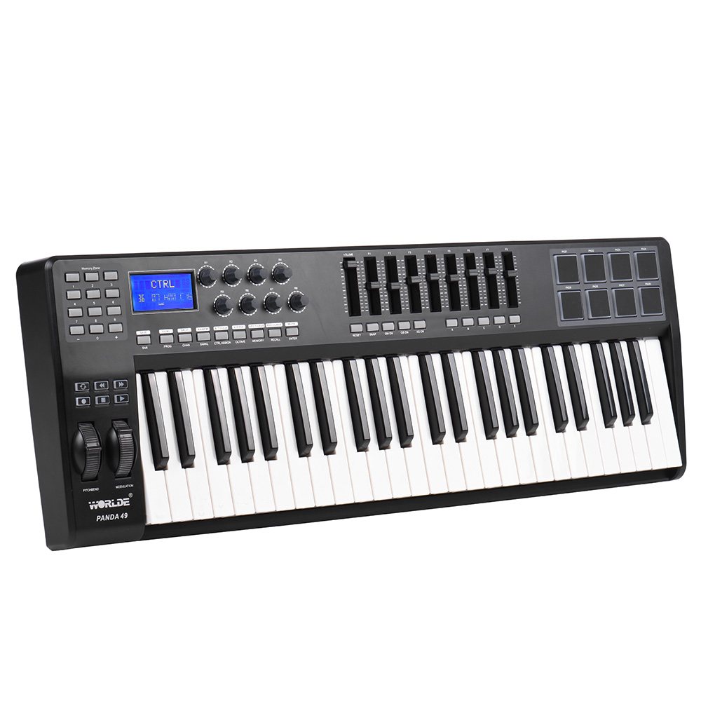 panda49 49 key usb midi keyboard controller 8 drum pads with usb cable piano keyboard midi. Black Bedroom Furniture Sets. Home Design Ideas