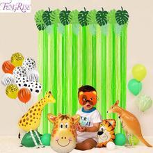 Green Paper Background Jungle Party Decor Safari Animal Zoo Theme Supplies Birthday Kids