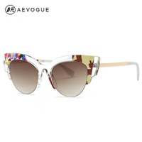 AEVOGUE Sunglasses Women Brand Designer Cat Eye Sun Glasses Vintage Retro Acetate Transparent Frame With Box