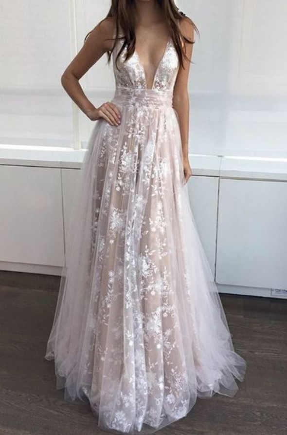 חוף חתונת כלה שמלת 2019 טול Boho ערב כלה שמלה ללא משענת נוצץ לראות דרך סומק אונליין לנשף שמלות Noiva Praia